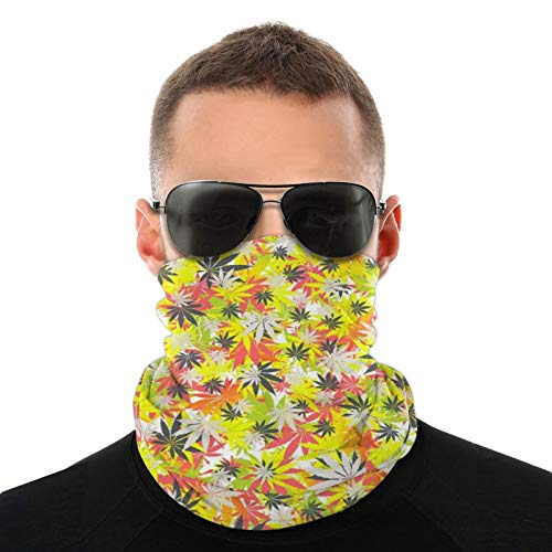 Riding Winter Neck Gaiter Neck Warmer for Men Women, Windproof Ear Face Mask for Sun Hiking, Colored Marijuana Weed Headband Scarf Breathable Beanie Cap