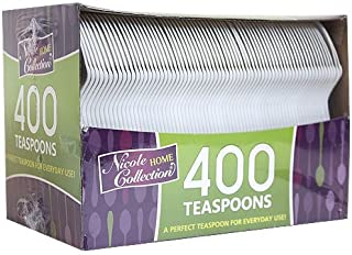 Nicole Home Collection Plastic Cutlery, Teaspoons, Medium Weight Disposable, 400 Count, White