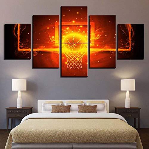 5 Piece Canvas Imagen Abstracta Decoración Del Hogar De Tablero De Fondo Circular Tablero De Impresión De Baloncesto Sin Marco