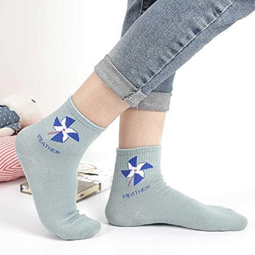 XIAOPENG Herbst Und Winter Neue Damen Wettersocken Baumwolle Rohr Weibliche Socken hellblaue Windmühle