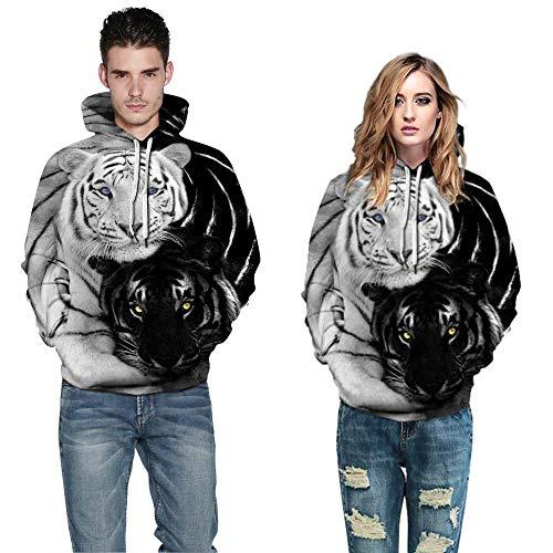 yyqx container Heren en vrouwen realistische 3D gedrukte trui hooded sweatshirt hoodie grote zak zwart en wit dubbele tijger 3D hoodie