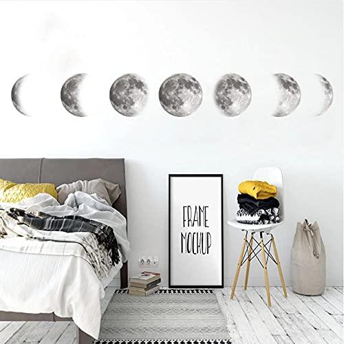 Wuixisajjh Etiqueta Engomada 3D De La Fase Lunar Para La Decoración De La Pared De La Sala De Estar Arte Mural Calcomanías De Fondo Decoración Pegatinas De Luna