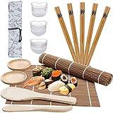 Kit per Fare Sushi in Bambù, GuKKK 12 Pezzi Tappetino per Arrotolare Il Sushi e 3 Pezzi Muffa di Sushi Creatore, Principianti DIY Kit Rulli, Include 2 Tappetini in Bambù, 5 Paia di Bacchette