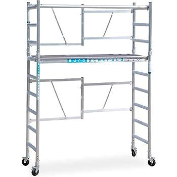 Andamio plegable de aluminio - plataforma con trampilla - 4 m altura de trabajo: Amazon.es: Bricolaje y herramientas