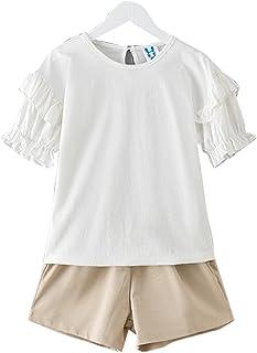 YueLian Juego de Camisetas de Manga Corta para Niñas, de Verano, Lisas