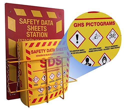 Bilingual Right to Know SDS Center Wire Rack and 3' Binder with GHS Pictograms