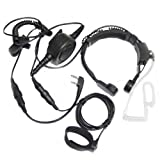 Tactical Throat Mic Headset with Finger Ptt Compatible for Baofeng Radio BF-F8HP BF-F9 UV-82 UV-82HP UV-82C UV-5R UV-5R5+ UV-5RA UV-5RE Kenwood Wouxun Two-Way Radio