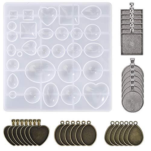 MengH-SHOP Résine Moule en Silicone Outil de Bijoux en Silicone Moules et Outils de Coulée de Résine et Supports Pendentif pour Pendentif Bracelet DIY 31 Pièces