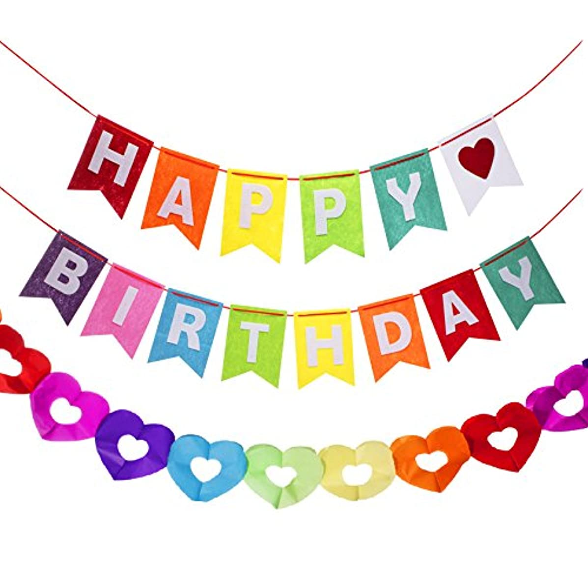 envizins Happy Birthday Rainbow Banner With a Matching Cut Out Heart Decoration Garland Hanging Party Supplies