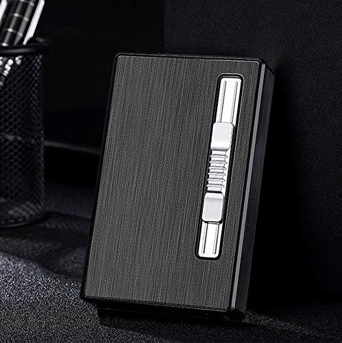 Zigarettenetui mit Jet Torch Flame Feuerzeug 100mm 100s 20pcs Slim Cigarettes Box Wiederaufladbare Winddichte Gasfeuerzeuge 2 in 1 (Black)
