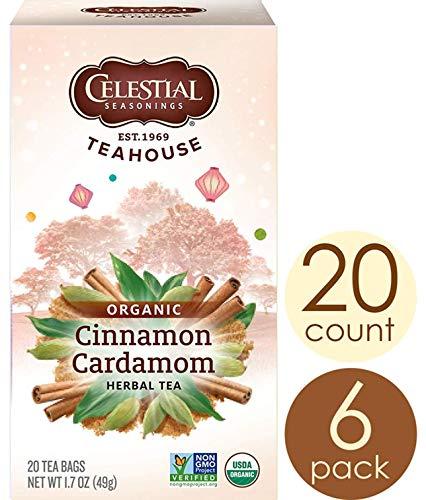 Celestial Seasonings Organic Herbal Tea, Cinnamon & Cardamom, 20 Count (Pack of 6)