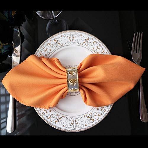 Fijner 48 cm Vierkant Effen Kleur Witte Bruiloft Tafelkleed Servetten Gerecyclede Textiel Servetten Polyester Restaurant Zakdoek Milieuvriendelijk, Oranje