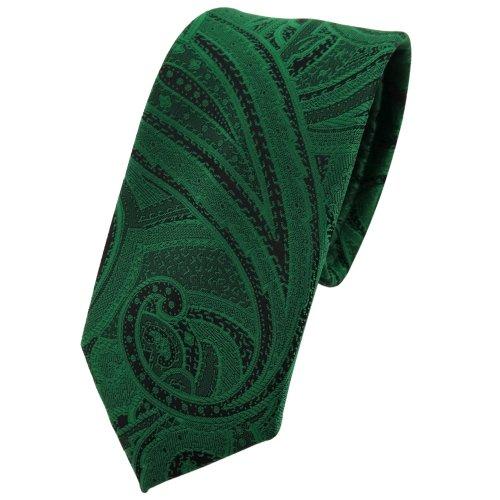 TigerTie schmale Krawatte grün smaragdgrün schwarz Paisley - Krawatte Tie