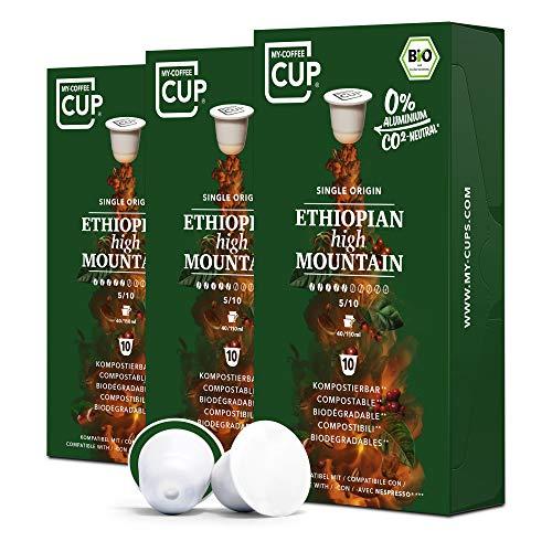 My-CoffeeCup – ETHIOPIAN HIGH MOUNTAIN – BIO-KAFFEE 3 PACKUNGEN I 30 Kaffeekapseln für Nespresso®*Kapselmaschinen I 100% industriell kompostierbare Kaffeekapseln – 0% Alu I Nachhaltige Kaffeekapseln
