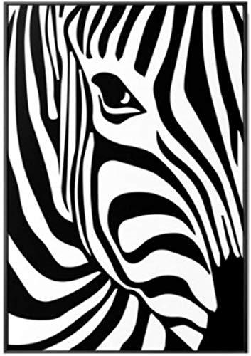 Tela De Lienzo 60x90cm Sin Marco Imágenes abstractas de cebra en blanco y negro para la decoración del hogar de la sala de estar Pop
