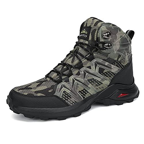 Dannto Hombre Botas de Nieve Invierno Botines Zapatos Cálido Fur Forro Aire Libre Boots Antideslizante Calientes zapatos de Senderismo para Trail Urbano Senderismo Esquiar Caminando(Camo-B,44)