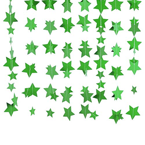 ZOOYOO Green Star Glitter Paper Garlands Hanging Banner for Party Decorations 4 in Pack