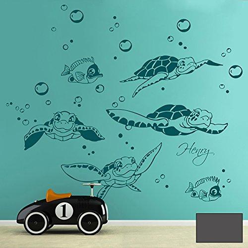 Wandtattoo Wandaufkleber Schildkröten Turtles mit Fischen Wasserblasen und Wunschnamen M1755 - ausgewählte Farbe: *Dunkelgrau* - ausgewählte Größe: *L - 120cm breit x 60cm hoch*