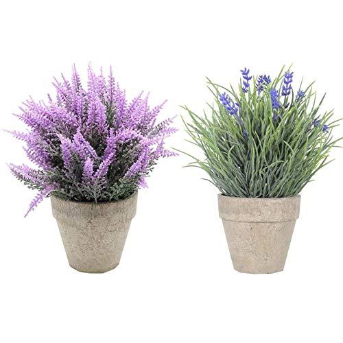 U'Artlines 2 Unidades de Mini Plantas Artificiales de plástico con arbustos de decoración con Maceta Gris para decoración de casa