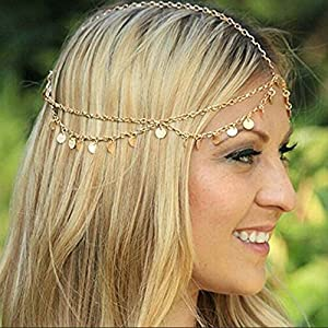 Aukmla Gold Sequins Head Chain Jewelry Festival Halloween Prom Costume Hair Accessories Fashion Headbands Headpieces for Women and Girls
