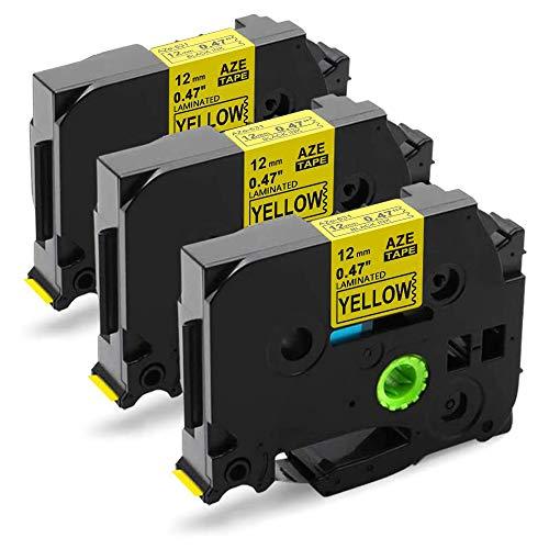 Nastro Unistar Compatibile In sostituzione di Brother TZe-631 TZ631 12mm x 8m Nero su Giallo per Brother P-Touch PT-1000 GL-H105 GL-200 PT-1080 PTE-550WVP PT-P700 PT-H300 3-Pack
