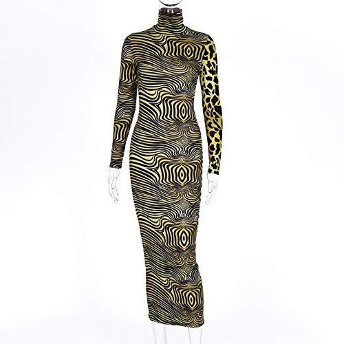 ShSnnwrl Mode Kleid Hübsche Kleid Kleider Dress Damen Druck Leopard Midi Kleid Bodycon Sexy High Neck Streetwear Festival Kleidun