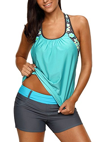 Women's Blouson Floral T-Back Push Up Tankini Top Halter Padded Slimming Swimsuit Sporty Swimwear Mint Green Plus Size XXXL 22 24
