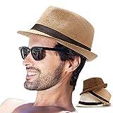 LADYBRO Mens Fedora Hat Men Hats Straw Hat Men Summer Fedora Havana Hat Men Fedora Cuban (Pack of 3 (Milky White,Coffee,Khaki))