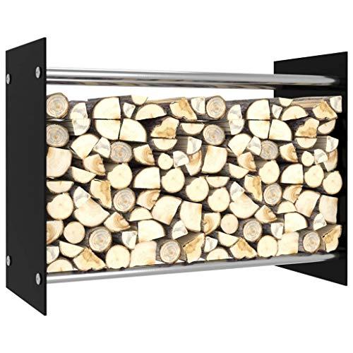 Tidyard Kaminholzregal, Holzscheite Stapelhilfe, aus Stahl, innen und außen, Brennholzregal, dekokamin, 80 x 35 x 60/12 cm, Schwarz/Weiß