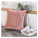 XIAOFANG Cubierta de cojín de Diamantes de imitación de Lujo Velvet Pink Blue Ivory Mandala Floral Hogar Cubierta de Almohada Decorativa para sofá Sofá 45x45cm (Color : Pink)
