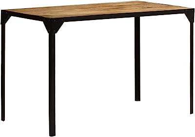Festnight Table de Salle à Manger Table à Dîner de Style Industriel en Bois de Manguier Brut et Acier Marron et Noir