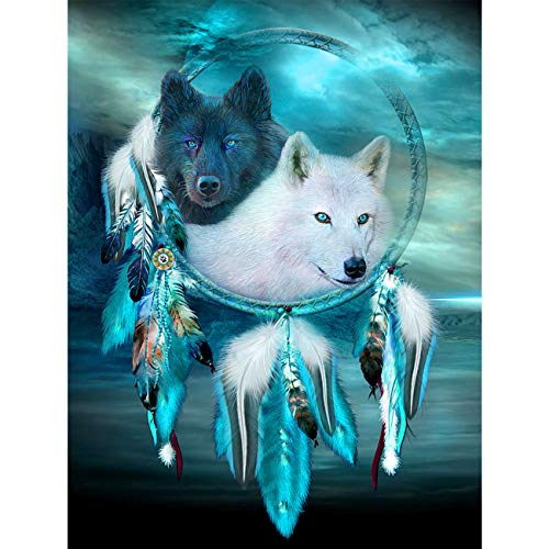 5D Diamond Painting The Black and White Wolf and The Dream Catcher Full Drill by Number Kits, SKRYUIE DIY Rhinestone Pasted Paint with Diamond Set Arts Craft Decorations (12x16inch)