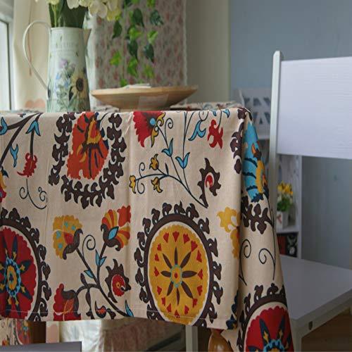 CFWL Coton Et Lin MéNage Style Ethnique Table Table Basse Nappe en Tissu Serviette Polyvalente Housse De Canapé Serviette Nappes Rose Rondes Blanches Rectangulaire Nydel Noir Marron 140x200cm