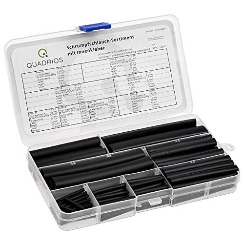 QUADRIOS GmbH Premium-Schrumpfschlauch 3:1 mit Kleber im Vorratspaket wasserdicht übersichtlich sortiert Premiumqualität wasserfest Halogenfrei Industriequalität (100 Stück, Schwarz)
