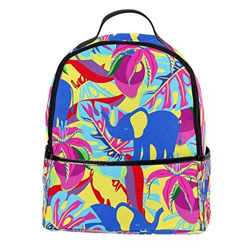 TIZORAX Mango Bloemen Palm Bladeren en Olifanten Tropisch Patroon Laptop Rugzak Casual Schouder Daypack voor Student School Bag Handtas - Lichtgewicht