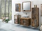 Woodkings Bad Set Kalkutta 5teilig hängend recyceltes Holz rustikal Mehrfarbig Badmöbel Badschrank...
