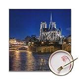 Juego de 4 manteles individuales de mesa con vista encantadora Mantel individual cuadrado de Notre Dame de Paris Mantel individual lavable resistente a las manchas para interiores o exteriores Hotel