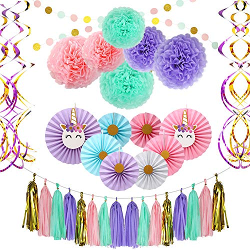 UHAPEER - Juego de 45 pompones de papel de seda coloridos, papel de seda, papel de seda, papel de seda, fiesta de cumpleaños, boda, decoración festiva, suministros