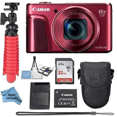 Canon Powershot SX720 (Red) Point & Shoot Digital Camera + Accessory Bundle + Model Electronics Cloth