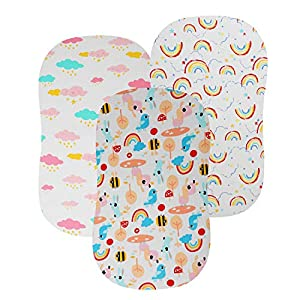 Bassinet Sheets Set for Baby Girls, 3 Pack 195 GSM Premium Jersey Cotton Fitted for Rectangle Hourglass and Oval Bassinet Mattress, White with Rainbows Colorful Clouds Bird and Bees Pattern