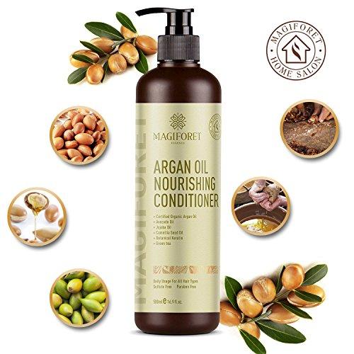 Apres Shampoing à l'huile d'argan, MagiForet Après-shampoing naturel pour cheveux colorés secs et abîmés, Produits professionnels de salon, tous types de cheveux Utilisation quotidienne 500ml
