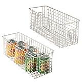 mDesign Juego de 2 cestas de almacenaje multiuso – Cestas organizadoras...