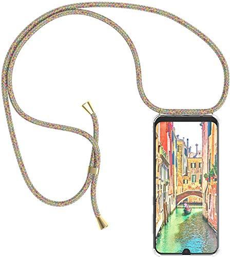 Funda con Cuerda para Xiaomi Mi 10T/ Mi 10T Pro 5G Funda con Cadena para Teléfono Móvil con Correa ajustable Transparente TPU Silicona Carcasa con Collar de Cordón Funda con Cordón de Colgar,Arco iris