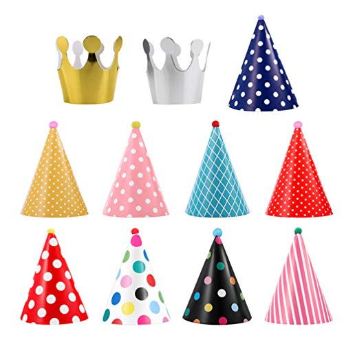 Purchase TOYANDONA 33PCS Birthday Party Hats Paper Cone Hats Crown Hat for Kids
