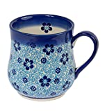 Traditionelle Polnische Keramik, handgefertigte Keramik Tassen, EIN Becher in Tropfenform mit Muster im Bunzlauer Stil (350ml) Q.102.Flow