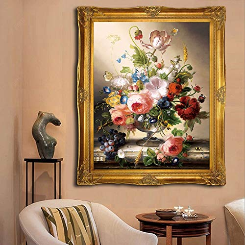 Needlework, DIY-Kreuz-Stich for vollen, Stickerei Kit, Weinglas Rose Blumen Gemälde auf Leinwand, Kreuzstich-Sets Wand Home Decor Kreuzstich-Malerei