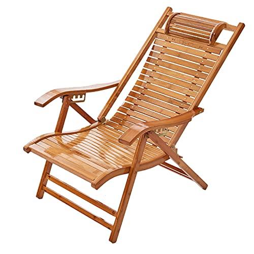 liegestuhl Klappstühle Aus Bambus, Verstellbare Liegen, Bequeme Kopfstütze, Gebogene Armlehne, Leicht Tragbar, Belastbar 300kg(Color:Style 2)