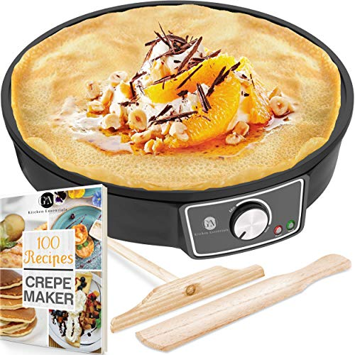 "Crepe Maker Machine Lifetime Warranty Pancake Griddle – Nonstick 12"" Electric Griddle – Pancake Maker Batter Spreader Wooden Spatula – Crepe Pan for Roti Tortilla Blintzes – Portable Compact Easy Clean"