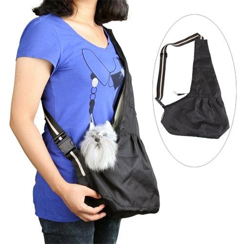 Ecloud Shop zwarte huisdier hond kat puppy riem schoudertas drager S