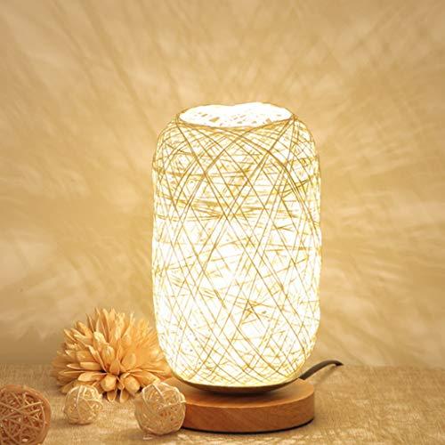 Decoración de Noche luz Recargable Noche LED, bramantes Madera lámpara de Mesa Takraw sólido, Bola cáñamo pequeña lámpara de Mesa, Materia de Fibra Vegetal, eficiente y Uniforme de la luz,Blanco
